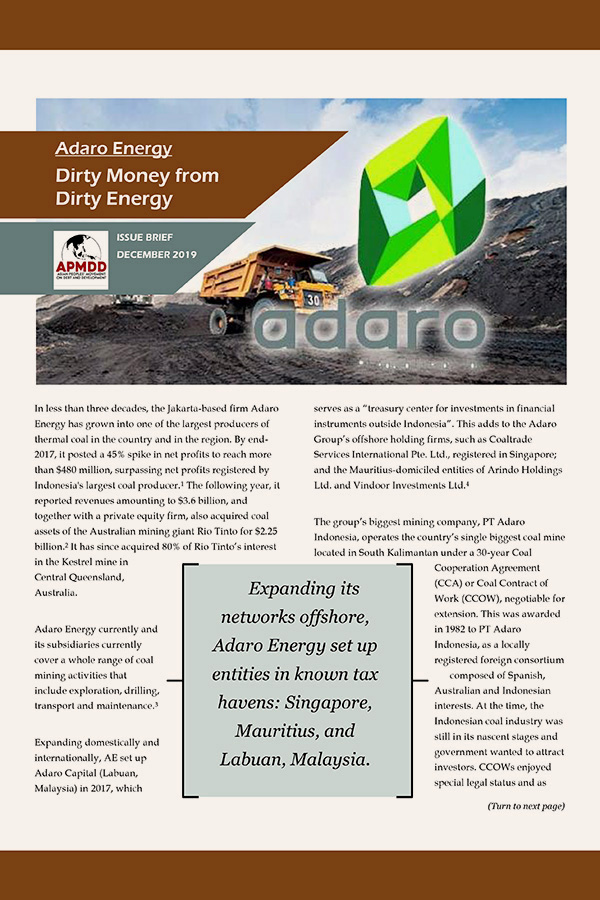 Adaro Energy: Dirty Money from Dirty Energy (Issue Brief 2019 Dec)