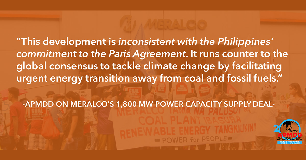 Statement on Meralco's 1,800 MW power capacity supply deal
